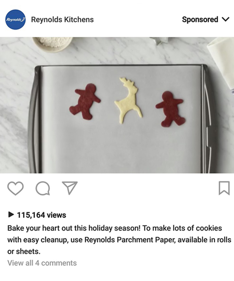 Reynolds Parchment Paper Sponsored Ad On Instagram