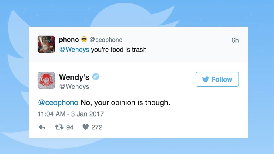 Wendy's roasting a consumer who called Wendy's food trash via Twitter