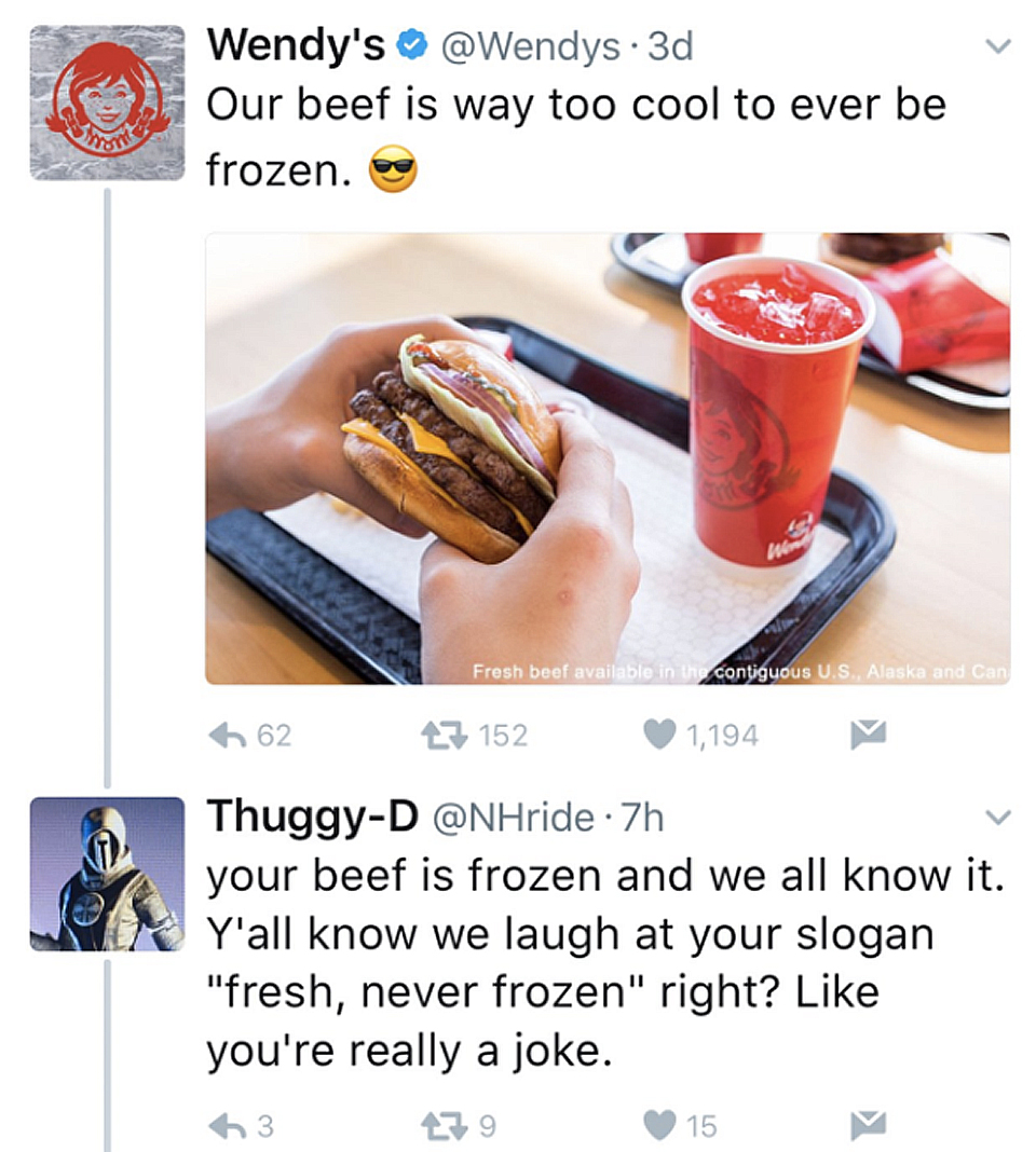 Twitter feud between a consumer and Wendy's regarding freshness of meat