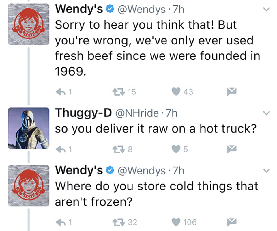 Wendy's comeback on Twitter feud with a consumer regarding freshness of meat