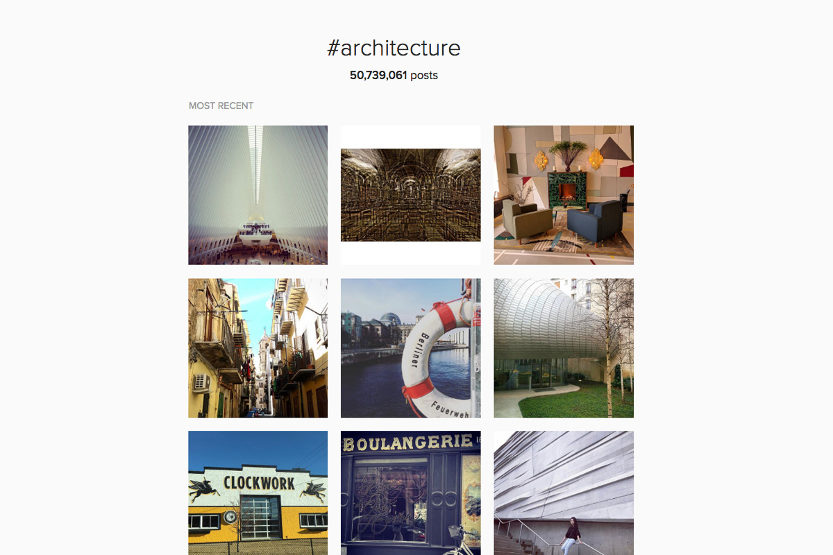 Architectural Instagram Posts Hashtagged Architecture