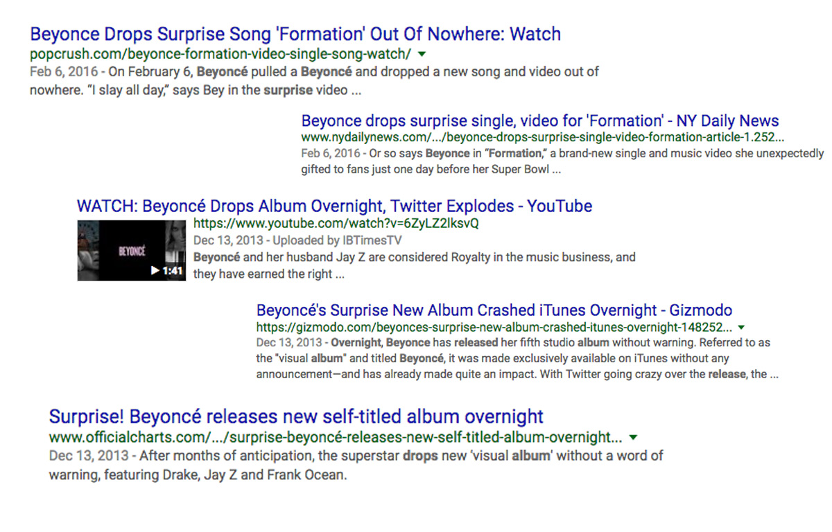 Google search of Beyonce's surprise Formation album drop