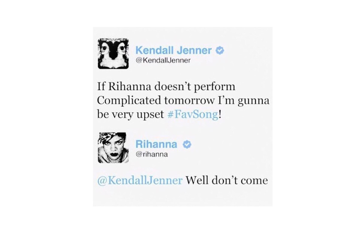 Image of comeback tweet between Kendall Jenner and Rihanna